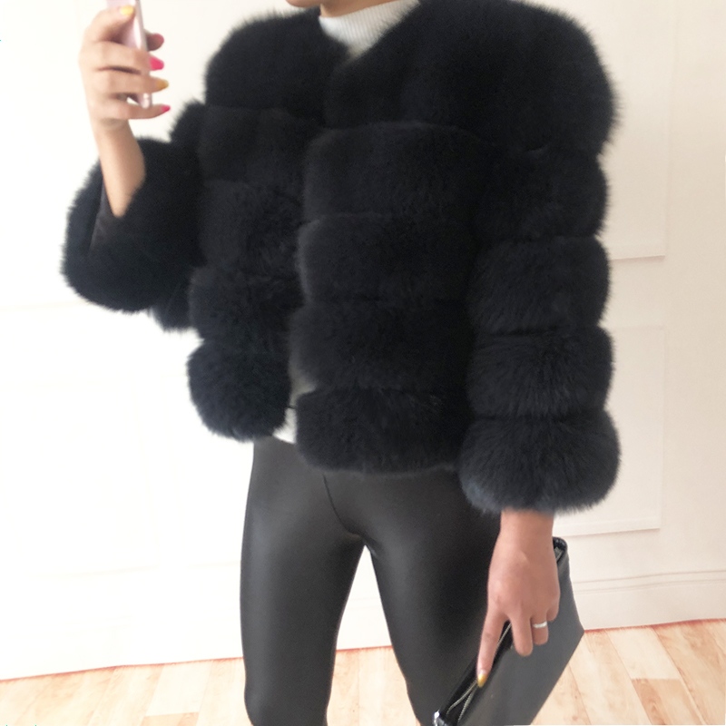 2019 new style real fur coat 100% natural fur jacket female winter warm leather fox fur coat high quality fur vest Free shipping 161