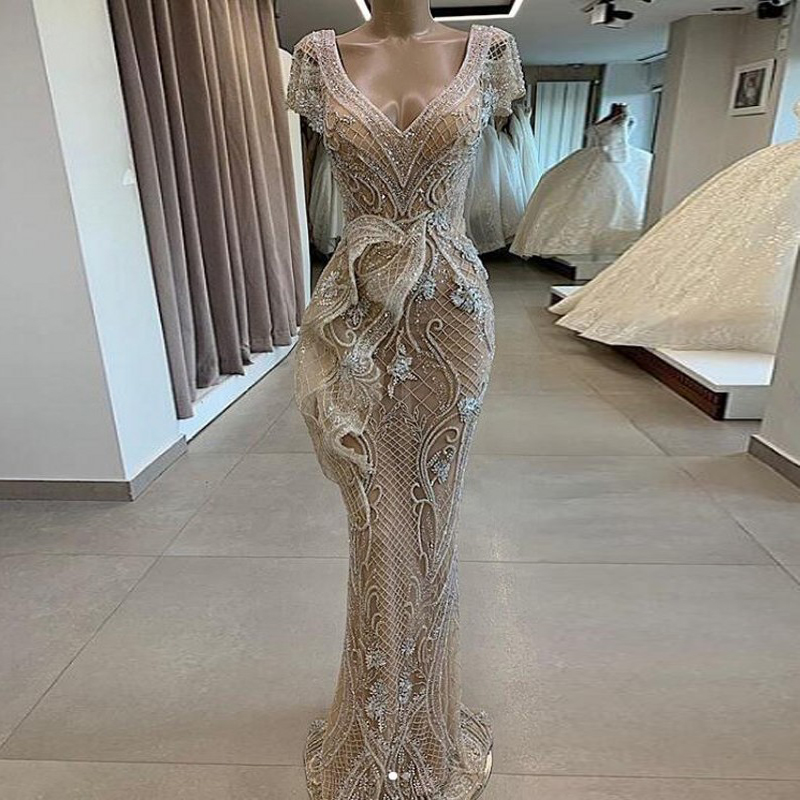 Champagne Prom Dresses Capped Sleeves Mermaid See Thru Evening Dresses Robe De Soiree Longue Formal Gown Zipper Vestido De Festa