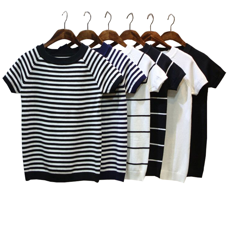 Summer Short Sleeve Striped Pullover Women Sweater Knitted 2020 Sweaters O-Neck Tops Korean Pull Femme Jumper Female White Black
