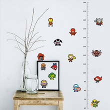 Marvel Avengers Height Measure Chart Wall Stickers For Kids Rooms Decals Art Children Room Decoration Poster Cartoon Boys Gift