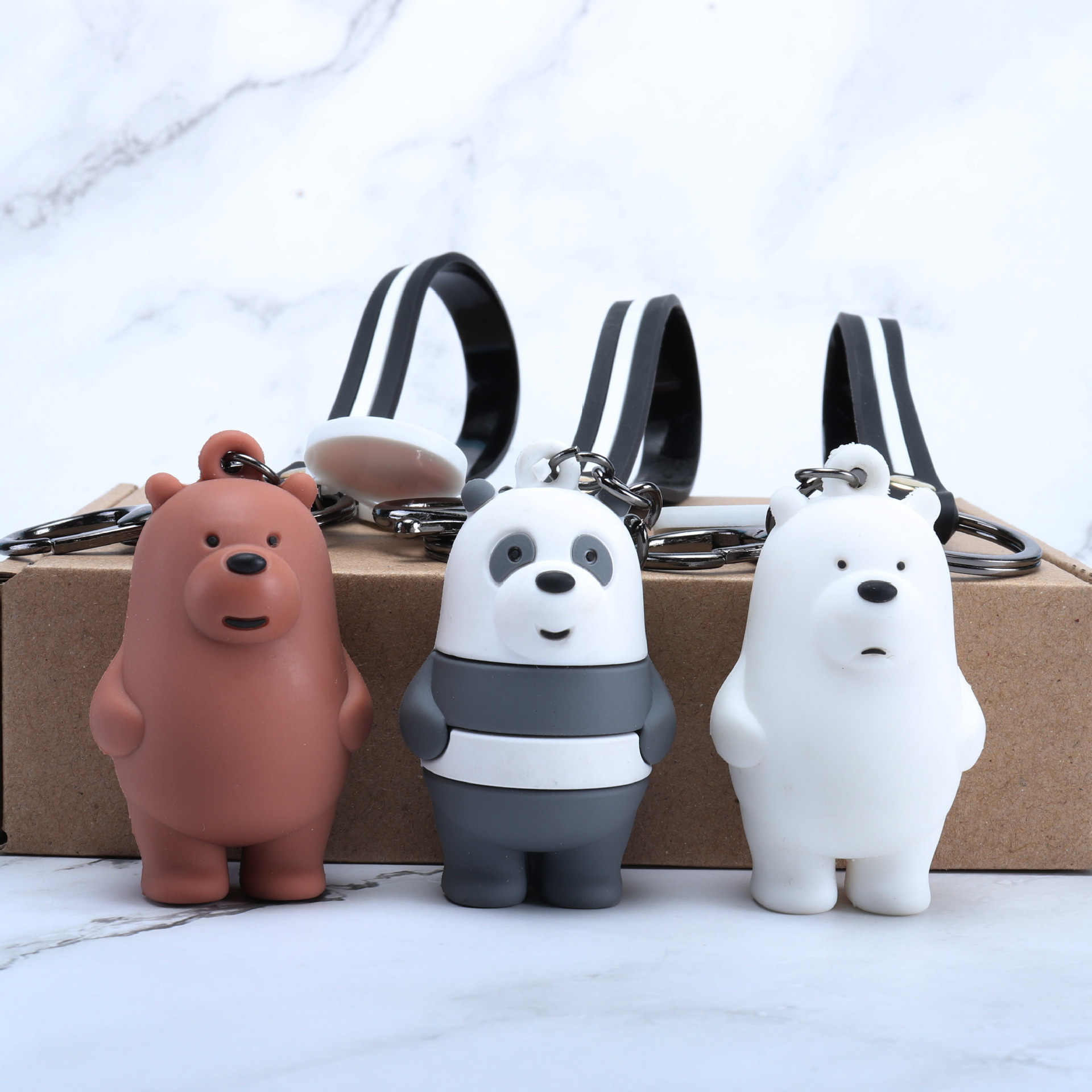 We Bare Bears Doll Keychain Cartoon Anime Pendants Acrylic Key chains For Women Kids Fashion Animal Series Trinkets For Car Key