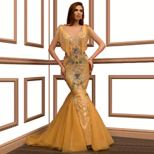 Glittery altın Mermaid akşam elbise v yaka kat uzunlukta Beadihg Sequins balo elbise Robe De Soiree Aibye orta doğu Dubai arap