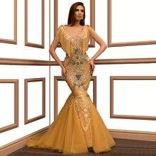 נוצץ זהב בת ים שמלת ערב V צוואר באורך רצפת Beadihg פאייטים נשף שמלת חלוק דה Soiree Aibye המזרח התיכון דובאי הערבי