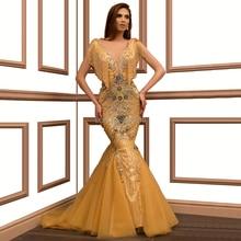 Vestido De noche sirena dorado brillante con cuello en V hasta el suelo lentejuelas Beadihg Prom vestido Robe De Soiree aigoody Oriente Medio Dubai árabe
