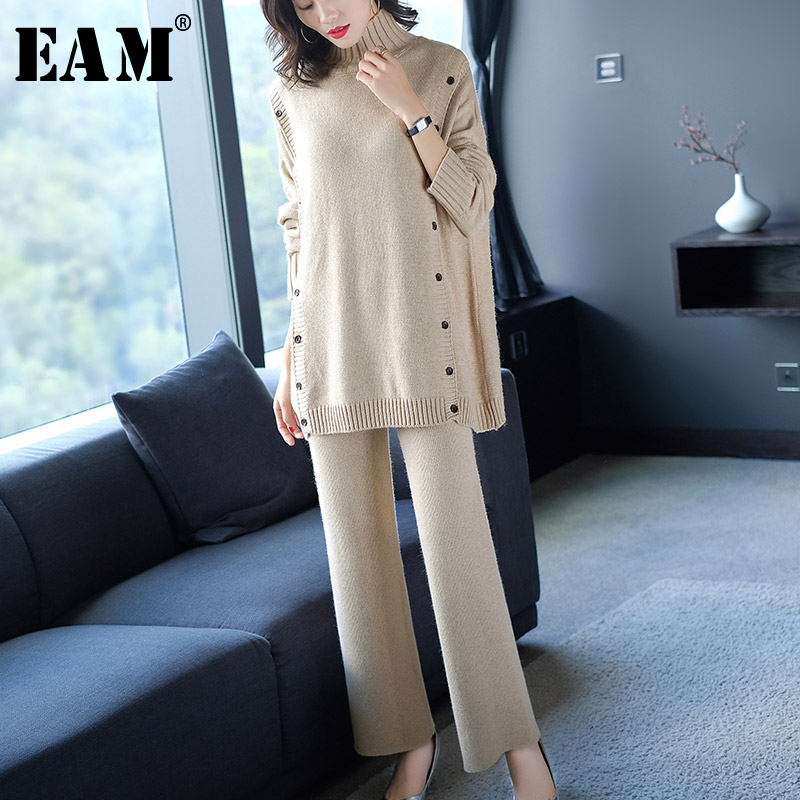 [EAM] Button Wide Leg Pants Knitting Two Piece Suit New Turtleneck Long Sleeve Loose Fit Women Fashion Spring Autumn 2019 JZ102