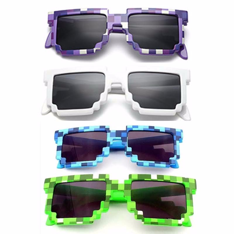 5 Color Sunglasses Action Game Toys For Children Kids Minecrafter Square Glasses With EVA Case Gifts Toys