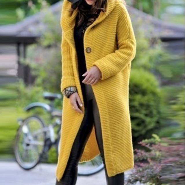 Длинный женский кардиган, свитер больших размеров, однотонное женское трикотажное пальто с капюшоном на плоской подошве, женский кардиган