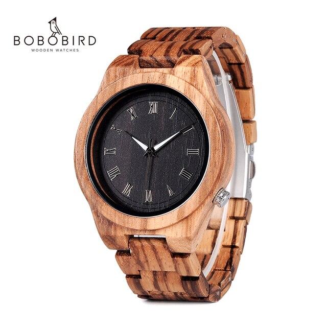 BOBO BIRD relojes para hombre, cronógrafos de pulsera de cuarzo, de madera de cebra, para regalo, V M30