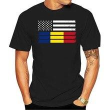 De Bandeira Americana Dos homens 2021 t-shirt Dadada algodão roménia romena-eua
