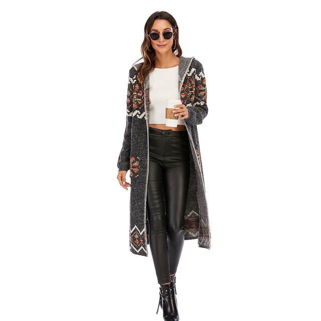 CGYY 2021 Womens Winter Fashion Casual Loose Sweater Female Autumn Spring Cardigan Single Breasted Puff Hooded Coat Plus Size 4