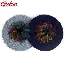 Geebro громоздкий модный вязаный берет для женщин Акриловые шапки искусственный мех Pom шапочка в стиле кэжуал шапки женские Твердые художника мешковатые берет