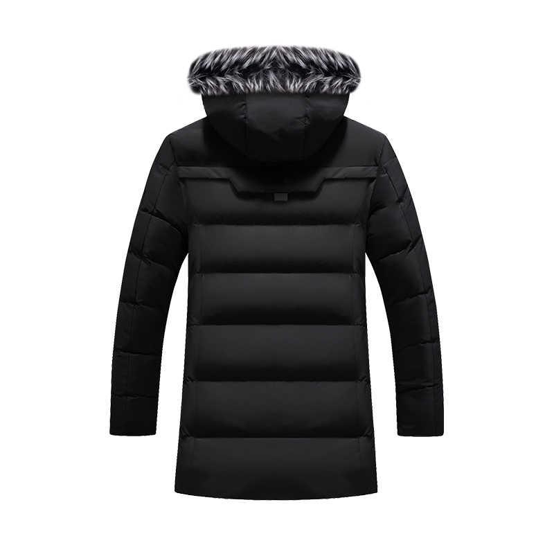 Winter Parka Mannen Effen Jas 2019 Nieuwe Aankomst Dikke Warme Jas Lange Capuchon Bontkraag Winddicht Gewatteerde Jas mode Mannen