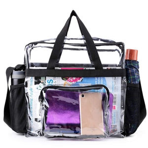 Transparent Tote Bag Stadium Security Travel and Gym Clear Bag, See Through Tote Bag for Work, Sports Games and Concerts(China)