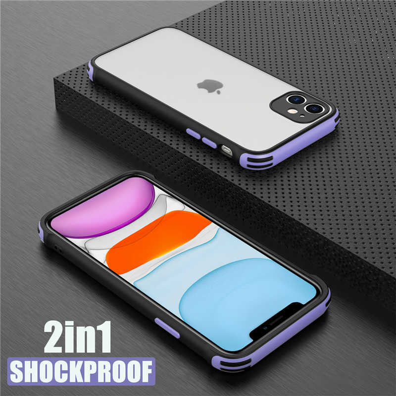 Luxe Armor Telefoon Case Voor Iphone 12 11 Pro Max X Xr Xs Max 7 8 6S Plus Se 2020 Shockproof Bumper Matte Transparant Back Cover