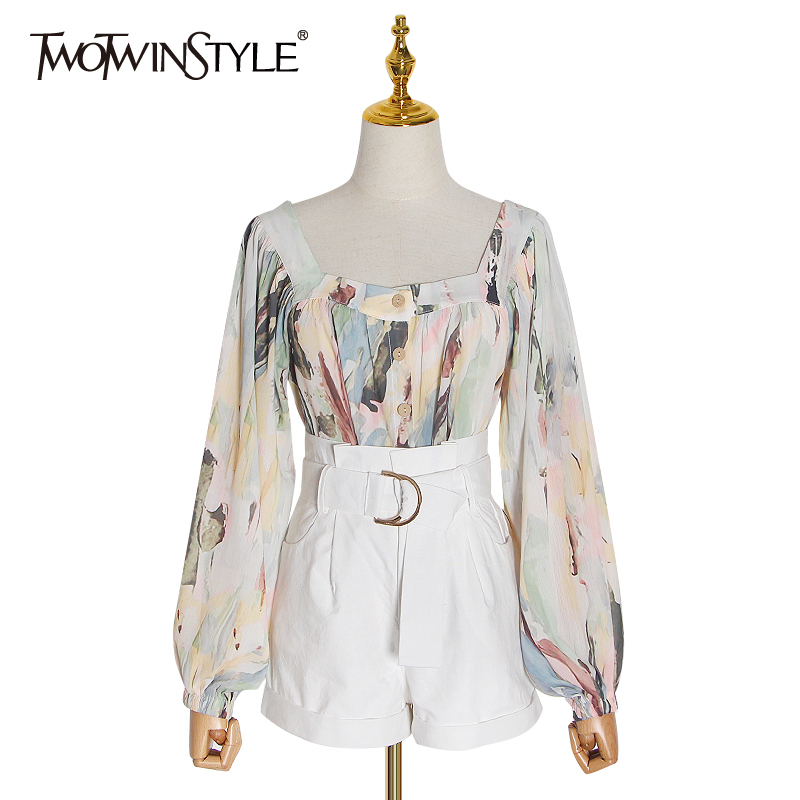 TWOTWINSTYLE Casual Two Piece Set Women Print Square Collar Lantern Sleeve Blouse High Waist Shorts Suit Women 2020 Fashion Tide