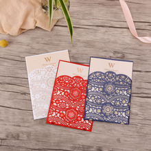 50pcs White Blue Red Laser Cut Wedding Invitations Card Lace Elegant Invites Cards Customize For Marriage Party Supplies