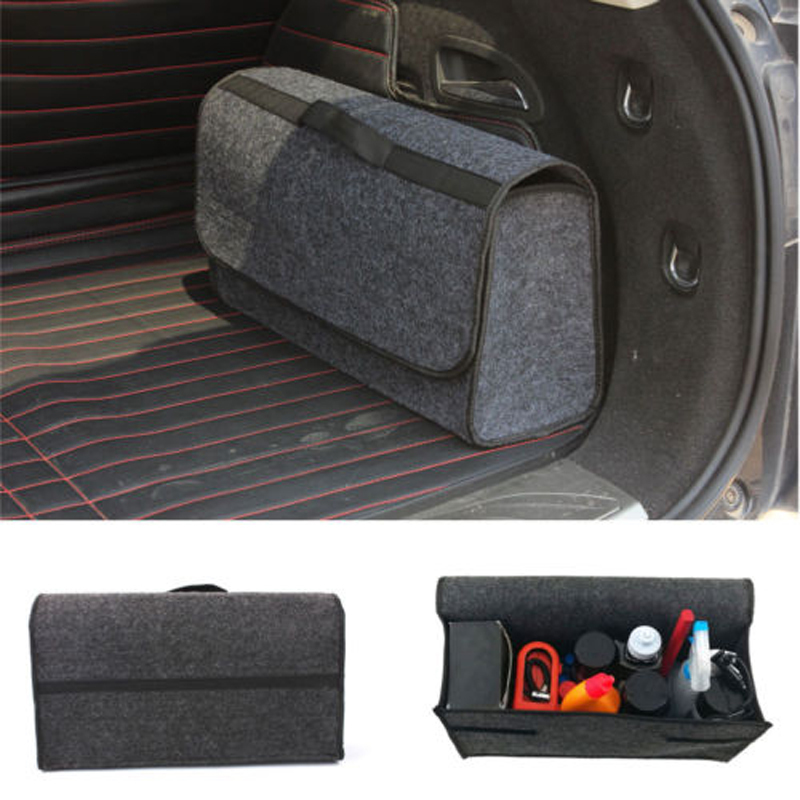New Style Large Anti Slip  Car Trunk Bag Compartment Boot Storage Organiser Gray Case Utility Soft Felt Tool Bag