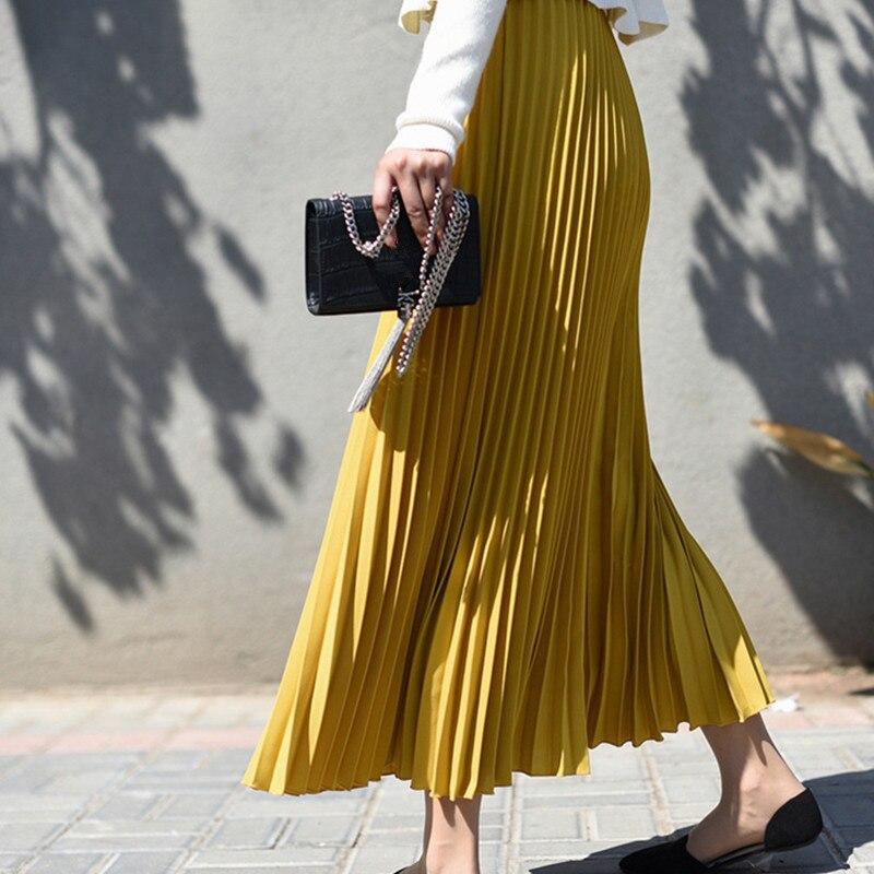 Women's Autumn Chiffon Pleated Long Skirt High Waist Solid Maxi Skirts Female 2019 Winter Fashion Casual Long Skirts For Women