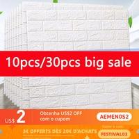 Papel tapiz de espuma autoadhesivo para pared, adhesivo 3D de ladrillo impermeable para habitación, cocina, techo, fondo de decoración de pared, 15/30 Uds.
