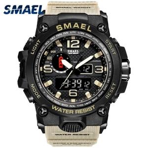 Image 1 - Men Military Watch 50m Waterproof Wristwatch LED Quartz Clock Sport Watch Male relogios masculino 1545 Sport Watch Men S Shock