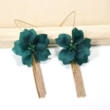 ZA New Flowers-Shaped Long Earrings Drop Fine Jewelry For Women Clear Resin petals Accessories Crystals Chain Tassels Pendientes