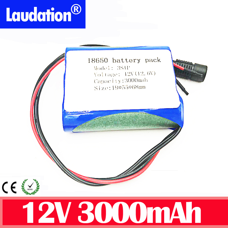 12v <font><b>battery</b></font> <font><b>pack</b></font> 3000mah <font><b>3s</b></font> 1p 18650 <font><b>pack</b></font> lithium <font><b>battery</b></font> with bms 12v discharge protection for CCTV/Camera/Light/LED Laudation image
