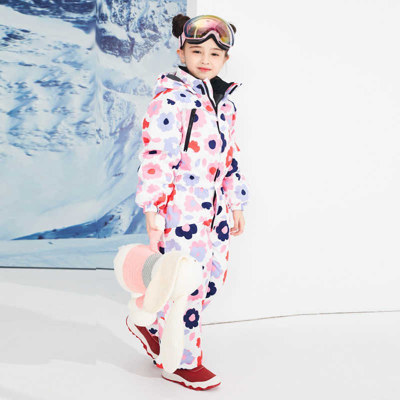 Children One-piece Ski Suit Cartoon Pattern Kids Ski Suit Children Windproof Waterproof Warm Girls and Boy Skiing Set