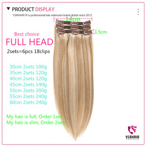 Image 4 - VSR 3pcs Clips Extensions 60g 100g 120g Machine Remy 100% Pure Human Hair Easy Do Clip Hair Extension