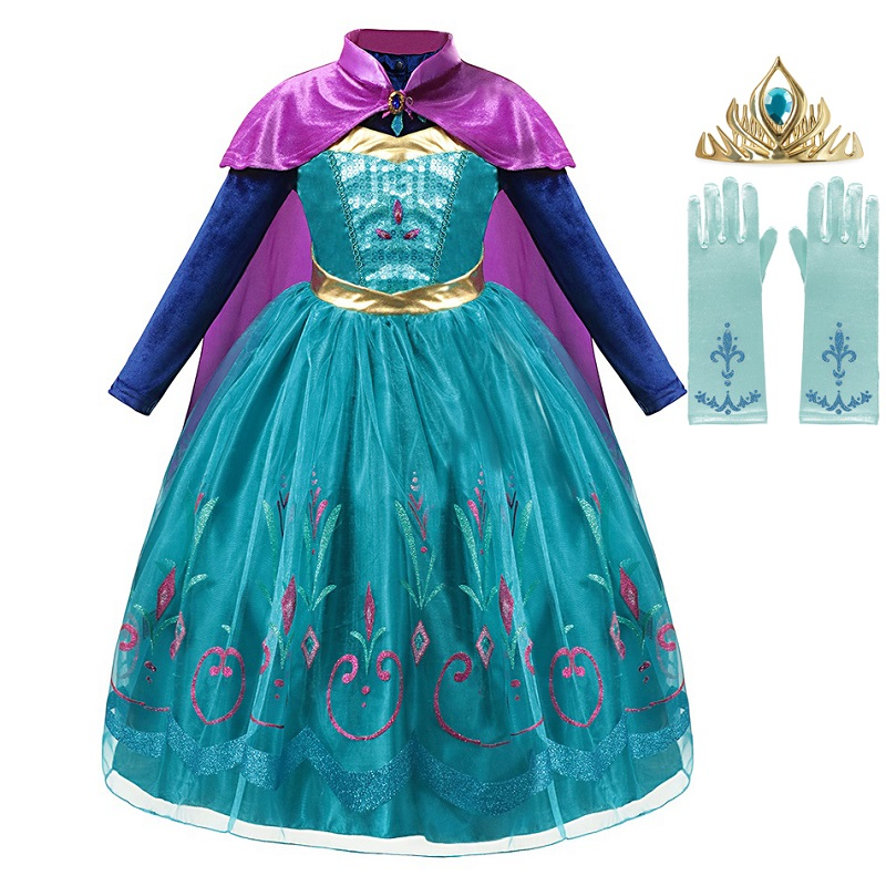 MUABABY Girl Elsa Anna Deluxe Fancy Dress Up Long Sleeve Sequin Snow Queen Fancy Princess Costume Kids Long Cloak Pageant Gown