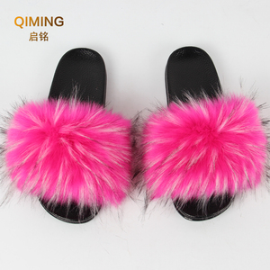 Image 5 - Womens Vegan Faux Fur Slippers Fuzzy Slides Fluffy Sandals Open Toe Indoor Outdoor Shoes Woman Slipper Furry