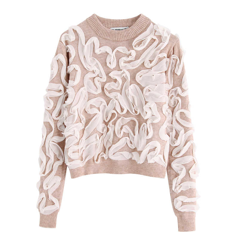 ZOEPO O Neck Panelled Sweaters Women Fashion Casual Knitted Sweater Women Elegant Long Sleeve Sweaters Female Ladies JQ