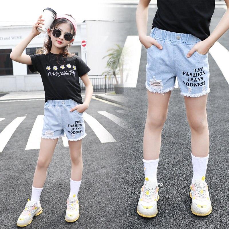 4-13 Year Old Girls Jeans Shorts 2020 Summer Girl Short Pants for Kids Ripped Jeans for Children Denim Shorts Letter Print 4