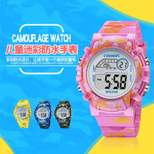Navy Blue Camouflage Kids Watches LED Colorful Flash Digital Waterproof Clock Fo