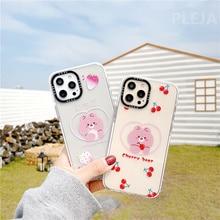 Cute Strawberry Bear Phone Case For iphone 12 mini 11 Pro Max 7 8 plus SE 2020 12 X XR XS Max Back Cover Cartoon Clear Soft Capa