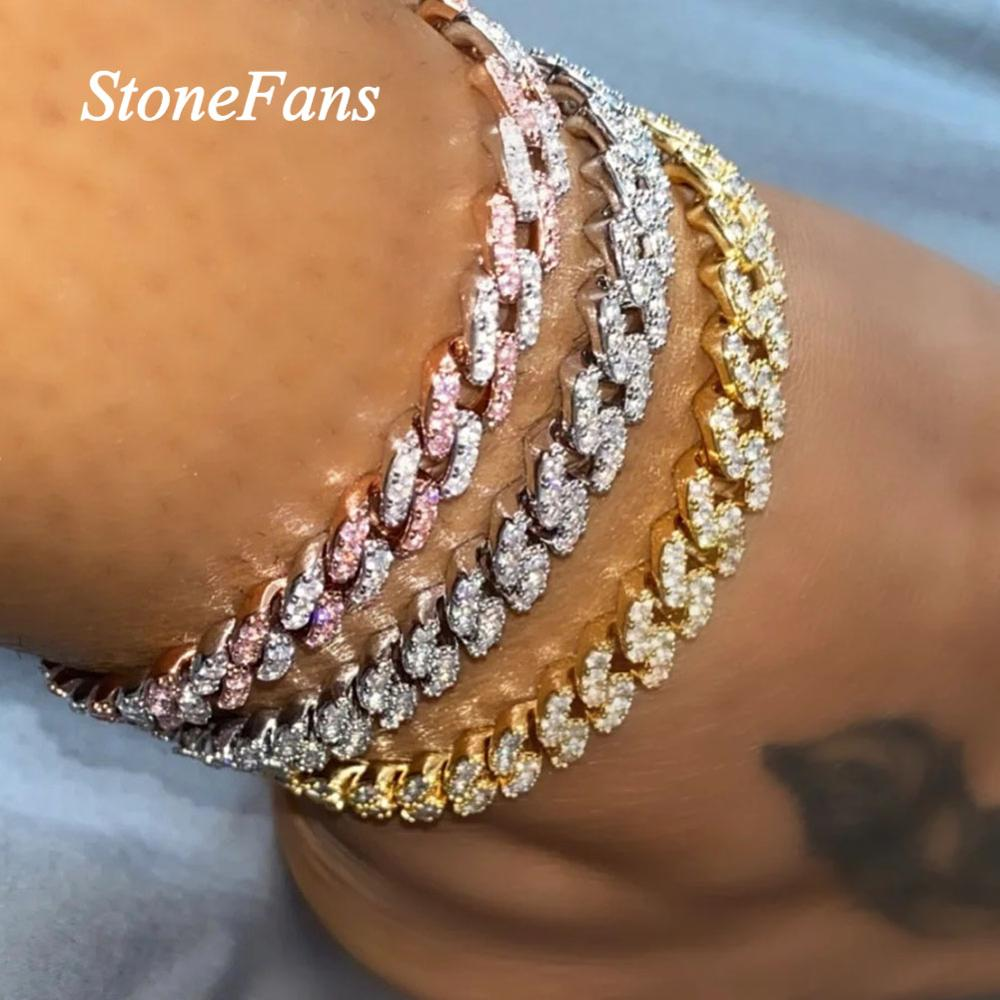 Stonefans Hip Hop Jewlery Iced Out Cuban Anklet Rhinestone for Women Bling Cubic Zirconia Anklet Foot Jewelry Barefoot Sandal