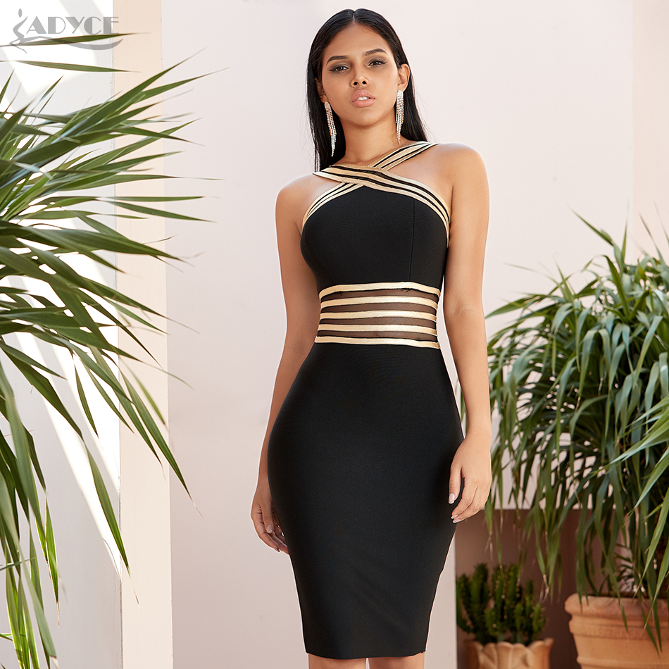 Adyce 2020 New Summer Halter Lace Bandage Dress Women Sexy Hollow Out Bodycon Club Celebrity Evening Runway Party Dress Vestido