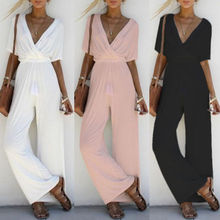 Women Jumpsuit Romper Short Sleeve V Neck Casual Playsuit Overalls Ladies Wide Leg Loose White Black Pink Playsuit Solid Jersey