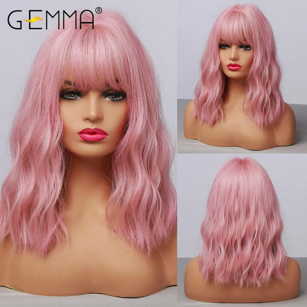 Синтетический парик GEMMA средней волны с челкой для чернокожих женщин, афроамериканский натуральный розовый Боб Лолита, косплей, термостойк...