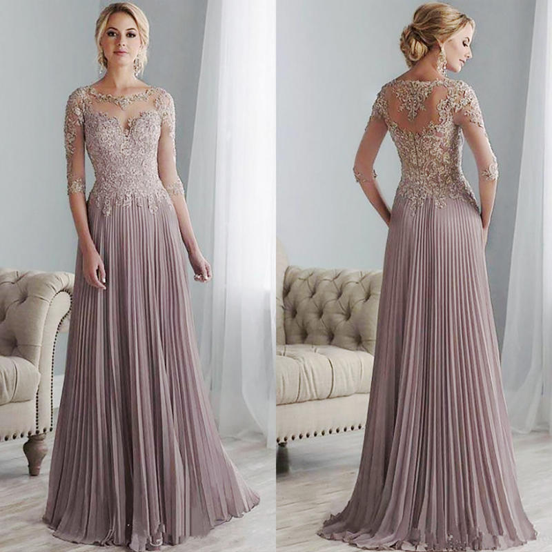 Dresses Groom Bride Chiffon Wedding Purple Mamma Plus-Size Pleated Lace Floor-Length