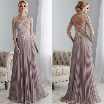 Purple Lace Mother of the Bride Dresses Plus Size Half Sleeves Groom Wedding Floor Length Pleated Chiffon Abito Mamma Sposa 2020