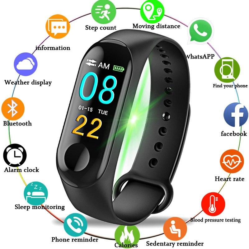 2019 Bracelet intelligent moniteur de fréquence cardiaque pression artérielle oxygène sanguin montre M3 couleur écran Smartband pour IOS Android téléphone