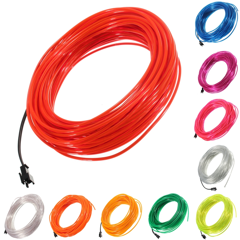 Jiguoor 20M EL Led Flexible suave tubo de alambre de neón resplandor de la cuerda del coche tira de luz Navidad decoración del hogar CA 12V 12V
