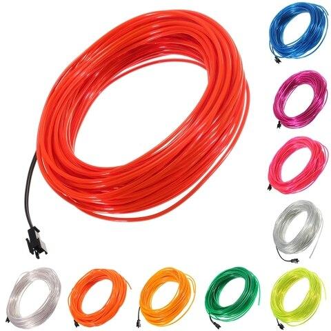 jiguoor 20m de neon do fulgor fio el levou tubo macio e flexivel corda luz