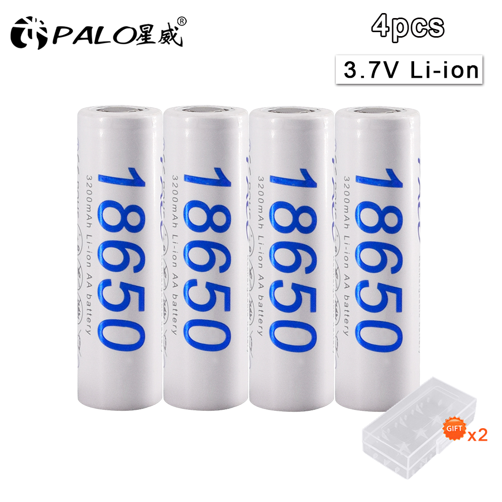 PALO 100% New Original <font><b>18650</b></font> 3.7 v 3200 mah <font><b>18650</b></font> Lithium Rechargeable Battery For Flashlight batteries image