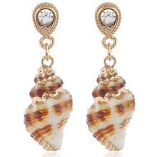 fashion sea snail pendant earring gold color hot style drop shell one pair xze108