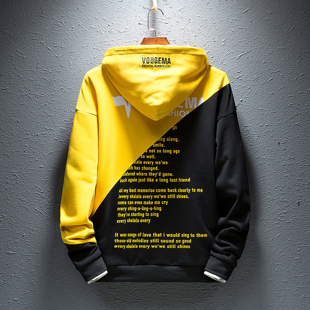 Men Hoodies  Autumn Male Hip Hop Streetwear Sweatshirts  Mens Solid Red Black Yellow off White Color Hoodies Hooded Clothing 5