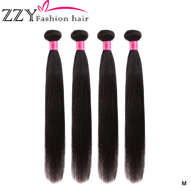 ZZY Fashion Hair Brazilian Straight Hair Bundles 4 Pieces Human Hair Bundles 8-26 Inch Non-remy Hair Extension