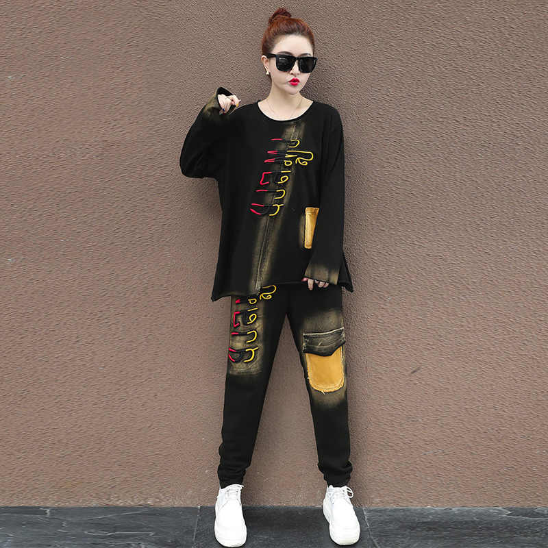 2 TWEE DELIGE SET Runway Jeans Broek Pak Vrouwen Vintage Denim Trainingspak Borduren Patch Outfits Harajuku Trui Hip Hop