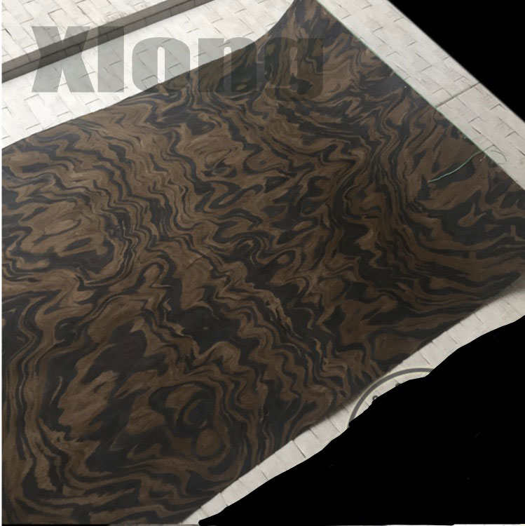 1Pieces Length: 2.5Meters Thickness:0.25mm Width:55cm Technology Black Walnut Tree Burl Wood Veneer