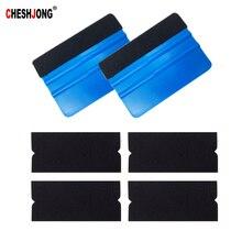 Cheshjong 2pcs Car Vinyl Film Wrapping Squeegee Scraper Tools Black Cloth Fabric 4pcs Replaceable Felt With Self Adhesive Glue